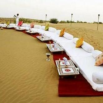 Dinner on sand dunes